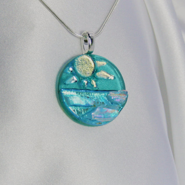 OCEANS of PRIDE dichroic fused glass jewelry pendant with necklace
