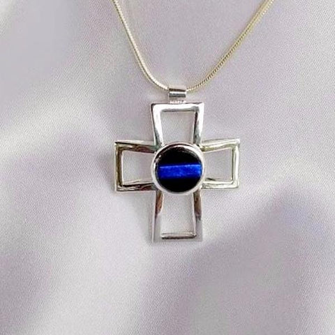 THIN BLUE LINE Silver Cross Dichroic Fused Glass Jewelry Pendant with Necklace