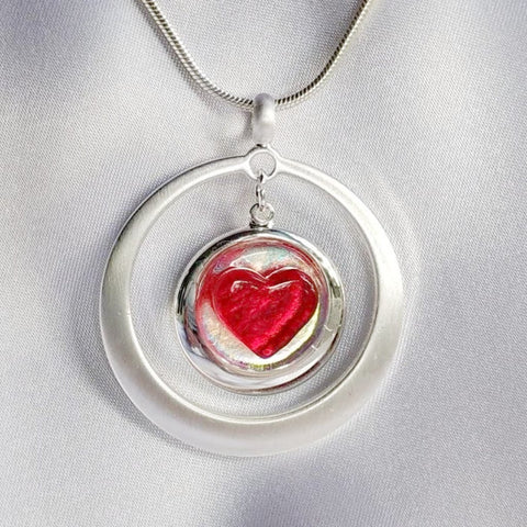 IN MY HEART Red Heart dichroic fused glass jewelry pendant necklace