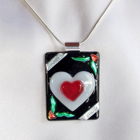 ACE of HEARTS Red Heart dichroic fused glass jewelry pendant necklace