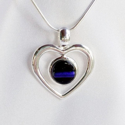 THIN BLUE LINE Police Silver Heart fused glass jewelry pendant necklace