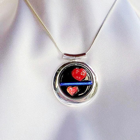 THIN BLUE LINE Police Round 2 Hearts Dichroic Fused Glass Jewelry Pendant with Necklace