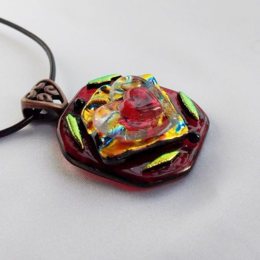 Queen of hearts royal garnet red and gold dichroic fused glass jewelry queen of hearts royal garnet red and gold dichroic fused glass jewelry pendant necklace aloadofball Images