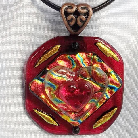 QUEEN OF HEARTS Royal Garnet Red and Gold dichroic fused glass jewelry pendant necklace