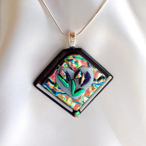 LOVE GARDEN  dichroic fused glass jewelry pendant necklace with white heart of purity