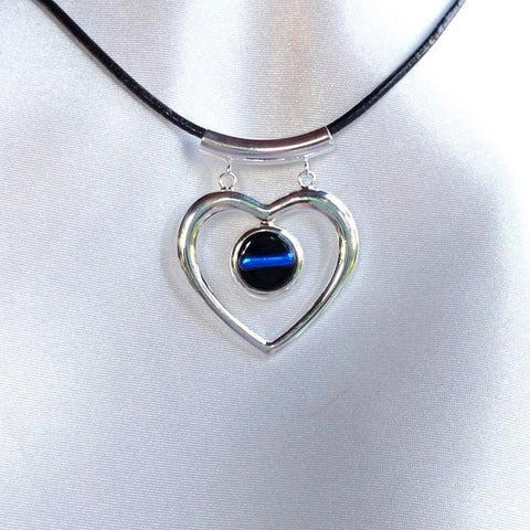 THIN BLUE LINE Dangle Silver Heart Dichroic Fused Glass Jewelry Pendant with Necklace