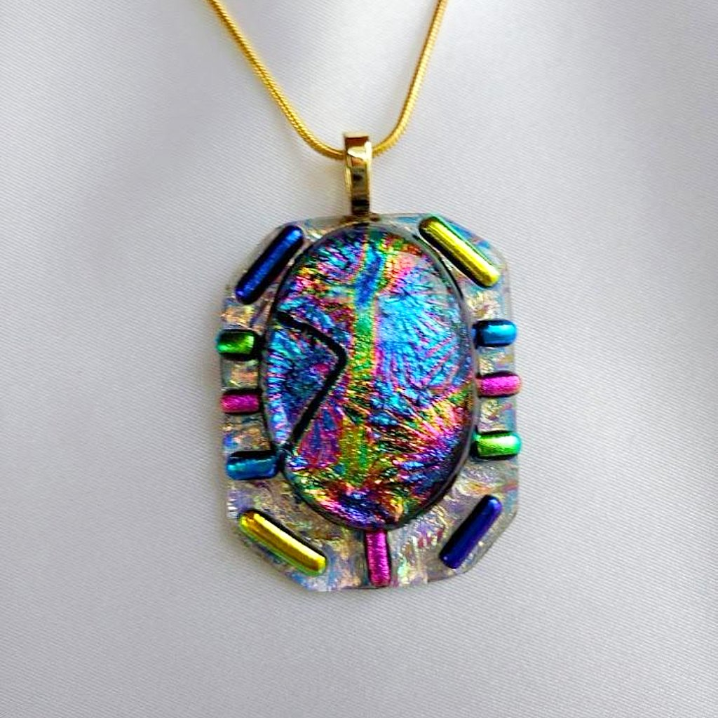 light of in fused silver shimmering luxury dichroic pendant cobalt and glass