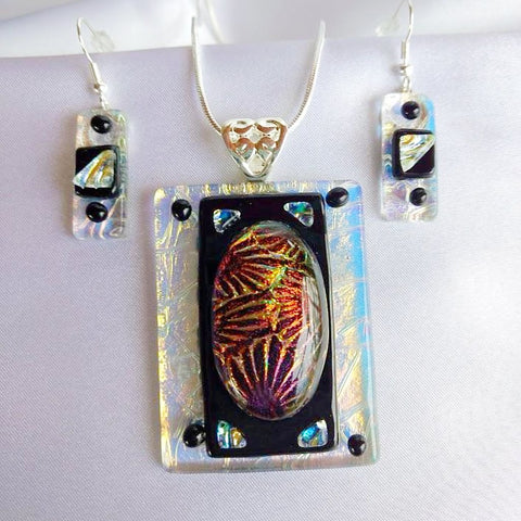EGYPTIAN SUNSET dichroic fused glass jewelry pendant and dangle earring set