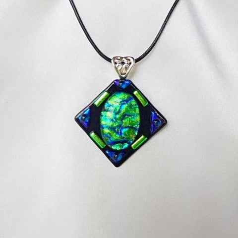 OCEAN JEWEL dichroic fused glass jewelry pendant necklace