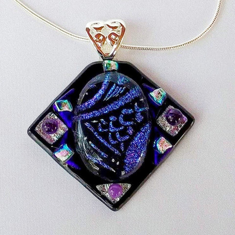 AMETHYST SEA JEWEL dichroic fused glass jewelry pendant necklace