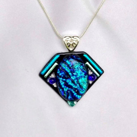 MERMAIDS JEWEL dichroic fused glass jewelry pendant with necklace