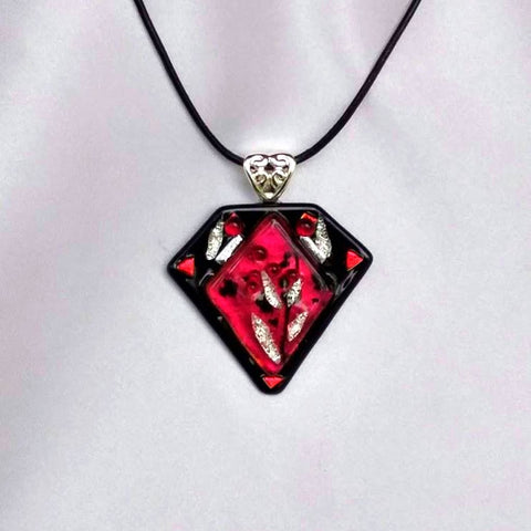 SCARLET GARDEN Flower dichroic fused glass jewelry pendant with necklace