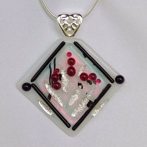 BLEEDING HEARTS GARDEN dichroic fused glass jewelry pendant with necklace