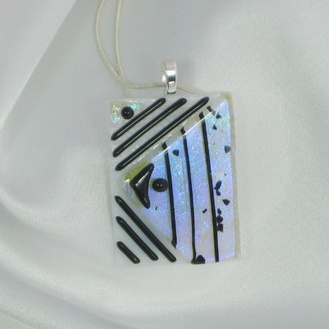 Pendant on Sterling Silver Plated Chain showing dichroic reflection