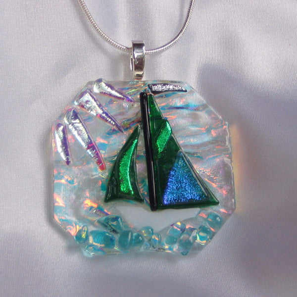 SAILING THE EMERALD JEWEL fused glass jewelry pendant with necklace
