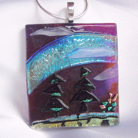 A NIGHT ON THE TRAIL fused glass jewelry pendant with necklace