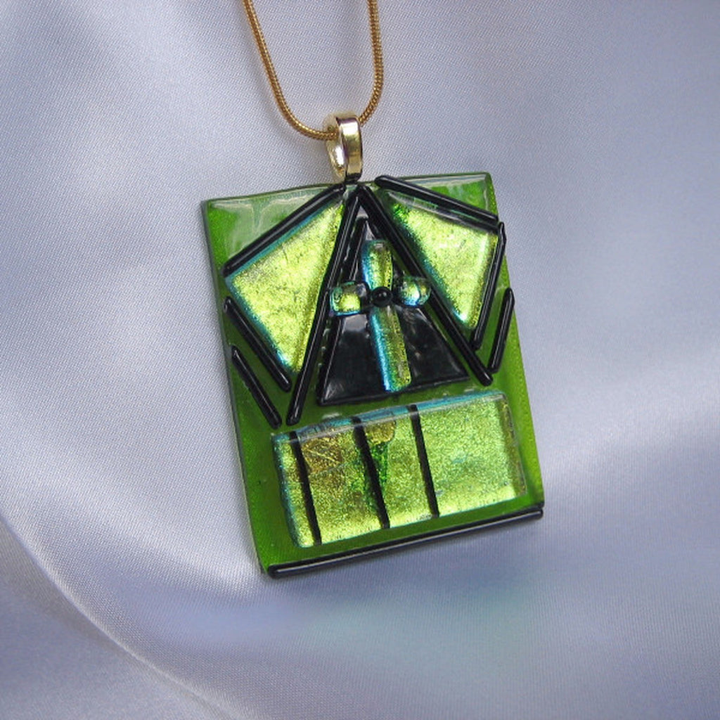 SAINT PATRICK'S CROSS green cross fused glass jewelry pendant necklace