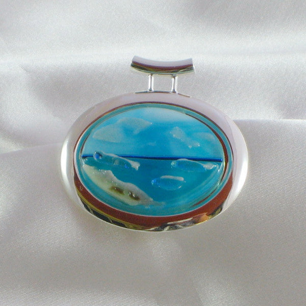 TRANQUILITY BEACH silver bezel dichroic fused glass jewelry pendant