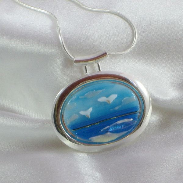 SEAGULL BEACH silver bezel fused glass jewelry pendant with necklace