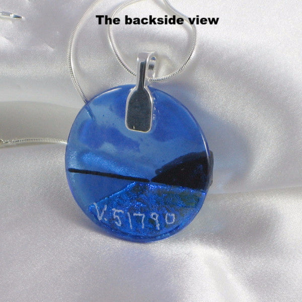THE SHORE is a fused glass jewelry pendant with necklace