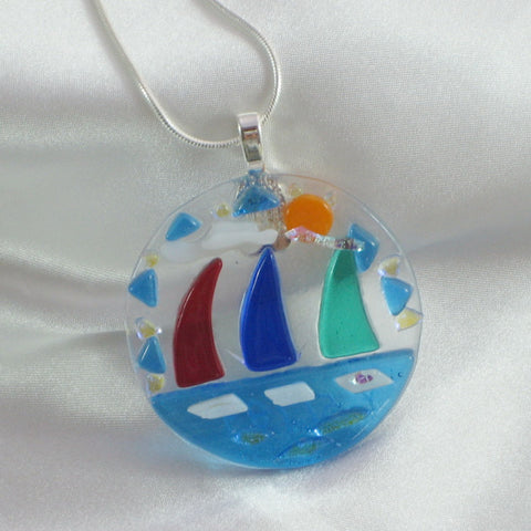 1st REGATTA is a sailboat fused glass jewelry pendant with necklace
