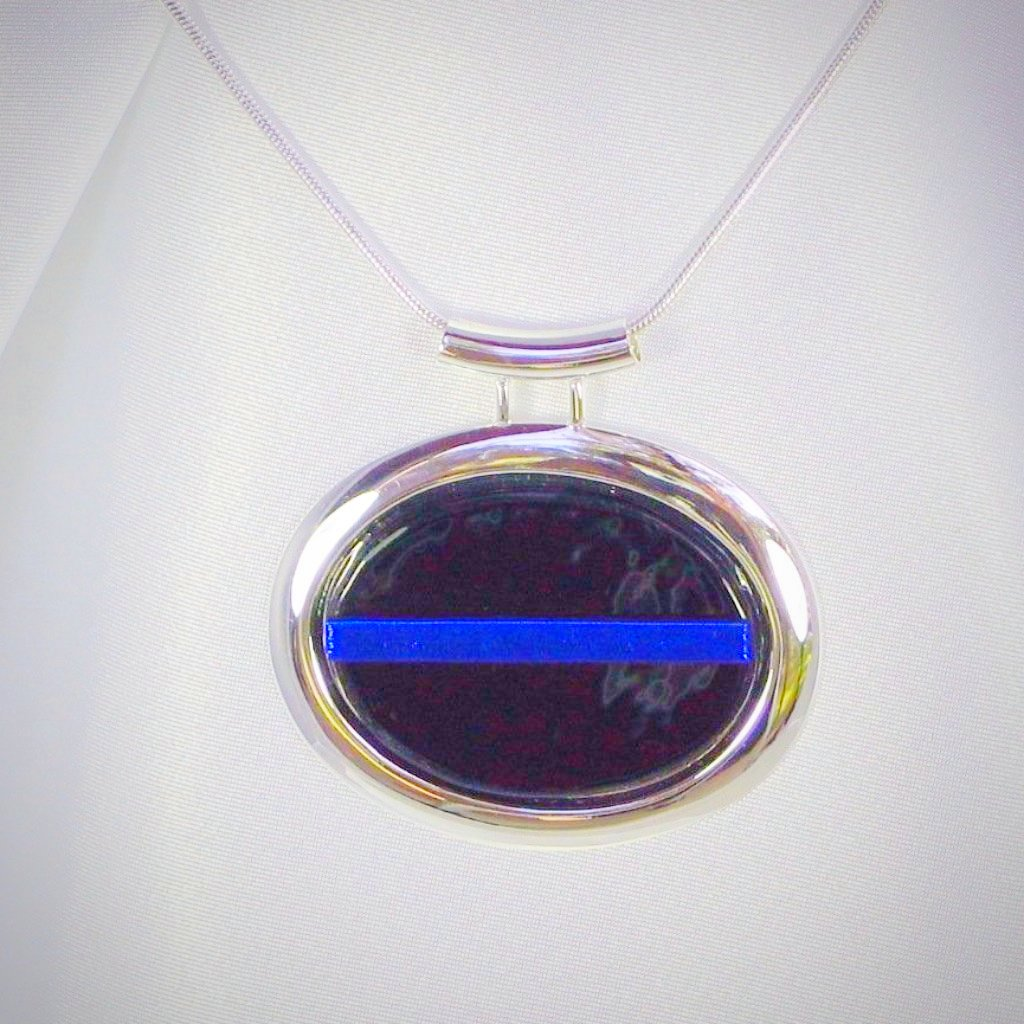 THIN BLUE LINE Silver Oval Dichroic Fused Glass Jewelry Pendant with Necklace