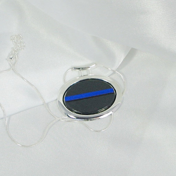 THIN BLUE LINE Police Oval jewelry pendant fused glass in Silver Bezel with necklace