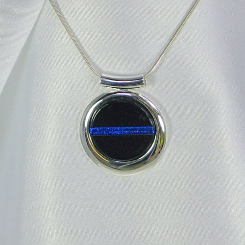 THIN BLUE LINE Silver Round Dichroic Fused Glass Jewelry Pendant with Necklace