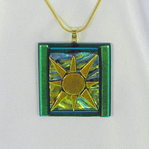 AUTUMN SUN dichroic fused glass jewelry pendant with necklace