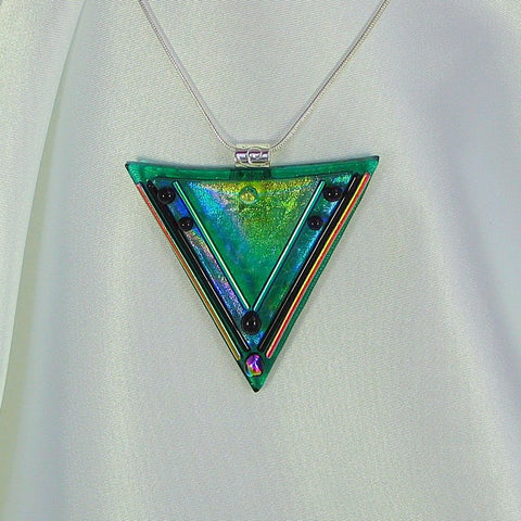 THE WARRIOR dichroic fused glass pendant with necklace