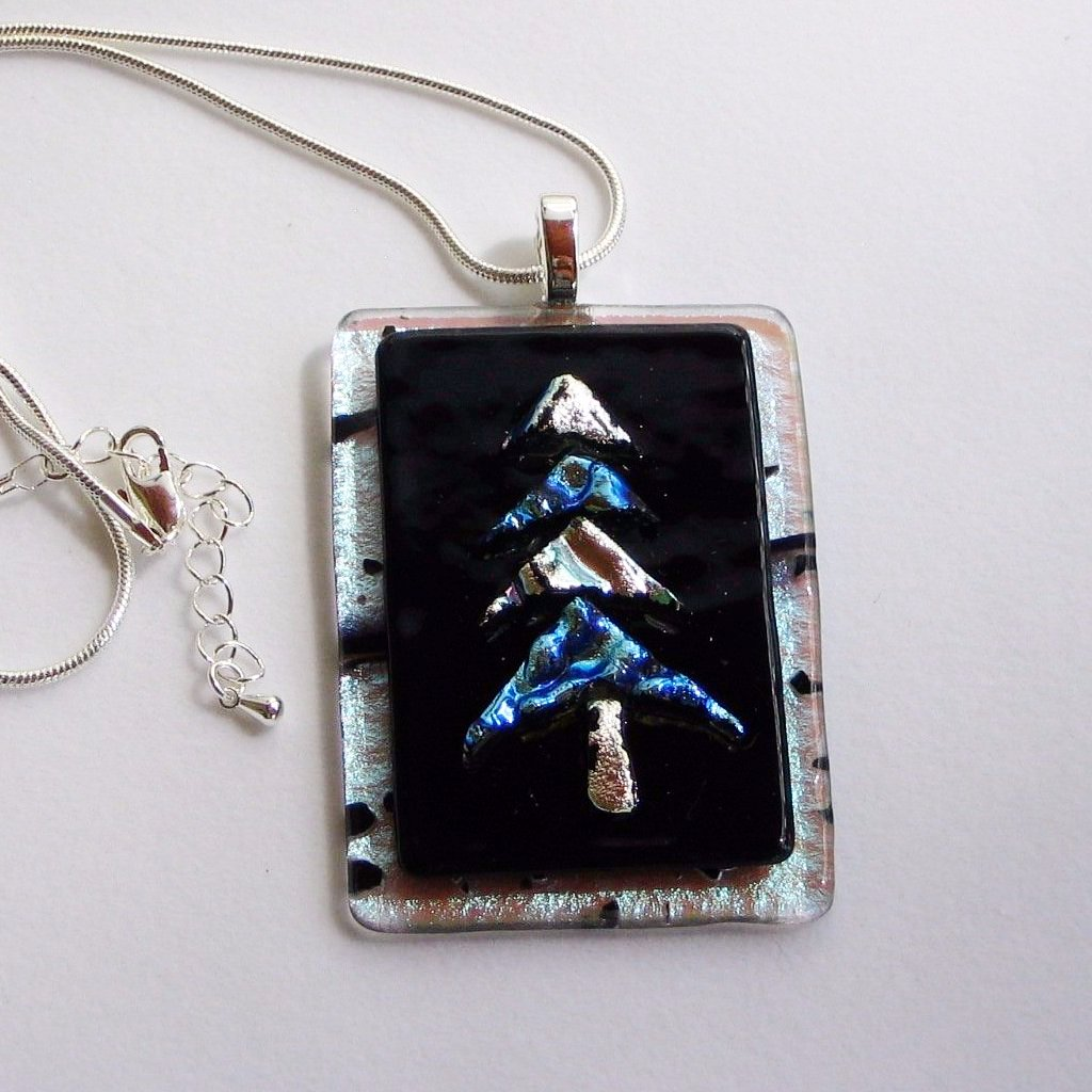 hanukkah bush christmas silver and blue dichroic fused glass jewelry p