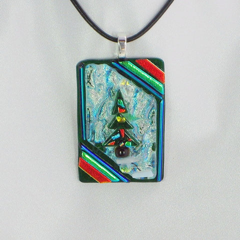 A Forest Christmas Tree dichroic fused glass jewelry pendant with 2 necklaces