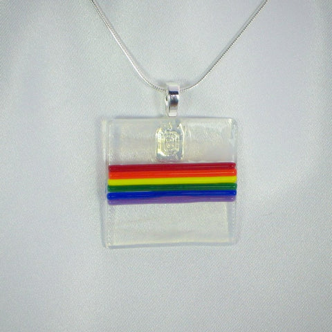 COLORS of GAY PRIDE fused glass pendant with necklace