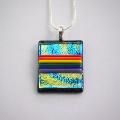 GAY PRIDE FLAG Rainbow Sky dichroic fused glass jewelry pendant necklace (Silver)