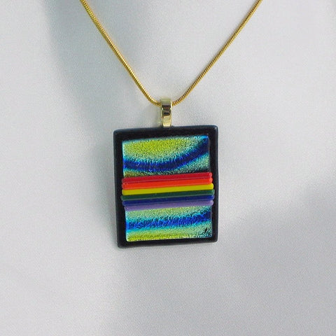 GAY PRIDE FLAG in a Rainbow Sky dichroic fused glass jewelry pendant necklace (Gold)