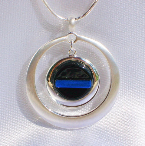 THIN BLUE LINE Police Ladies Jewelry Pendant Brushed Silver Circle Fused Dichroic Glass with Necklace