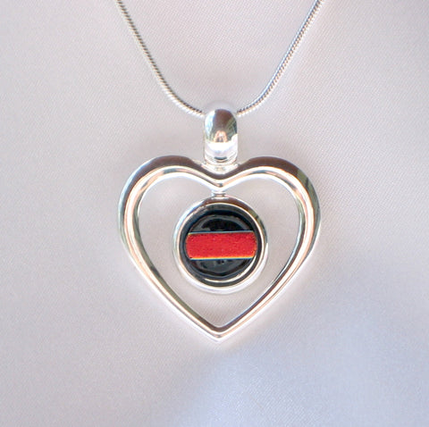 THIN RED LINE Silver Heart Dichroic Fused Glass Jewelry Pendant with Necklace