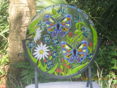 GARDEN PARTY fused glass Home Decor Suncatcher butterflies in the garden