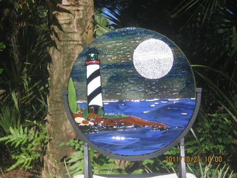 LICORICE STICK - St Augustine lighthouse fused glass suncatcher