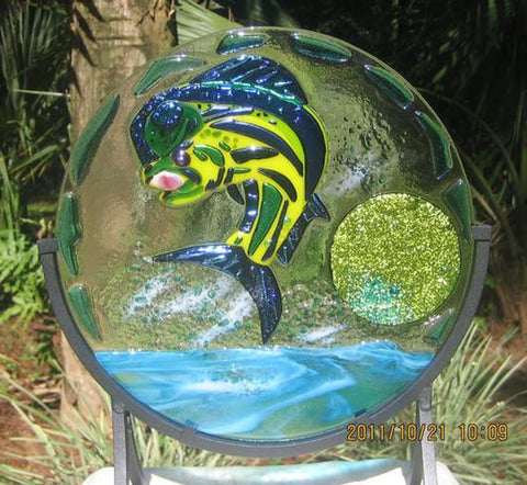 MAHI DORADO fused glass suncatcher of a mighty blue dolphin caught fishing
