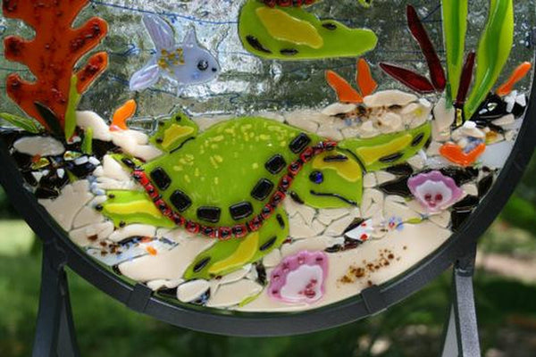 SEA TURTLES DANCE - turtle reef fused glass suncatcher