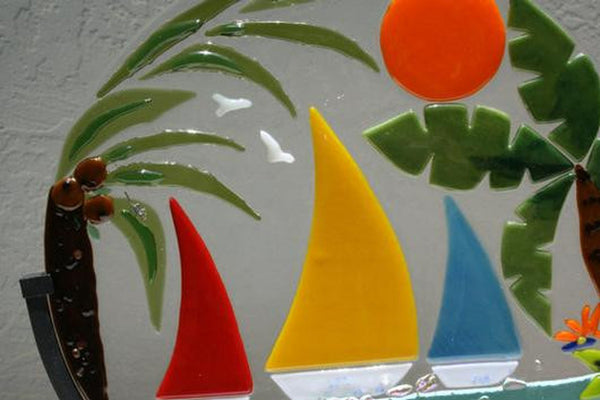 BEAUTIFUL DAY TO SAIL sailboat suncatcher fused glass three colorfull sailboats