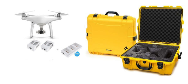 Phantom 4 with Two Extra Batteries +Bonus Charging Hub + Nanuk 945 - Yellow Case
