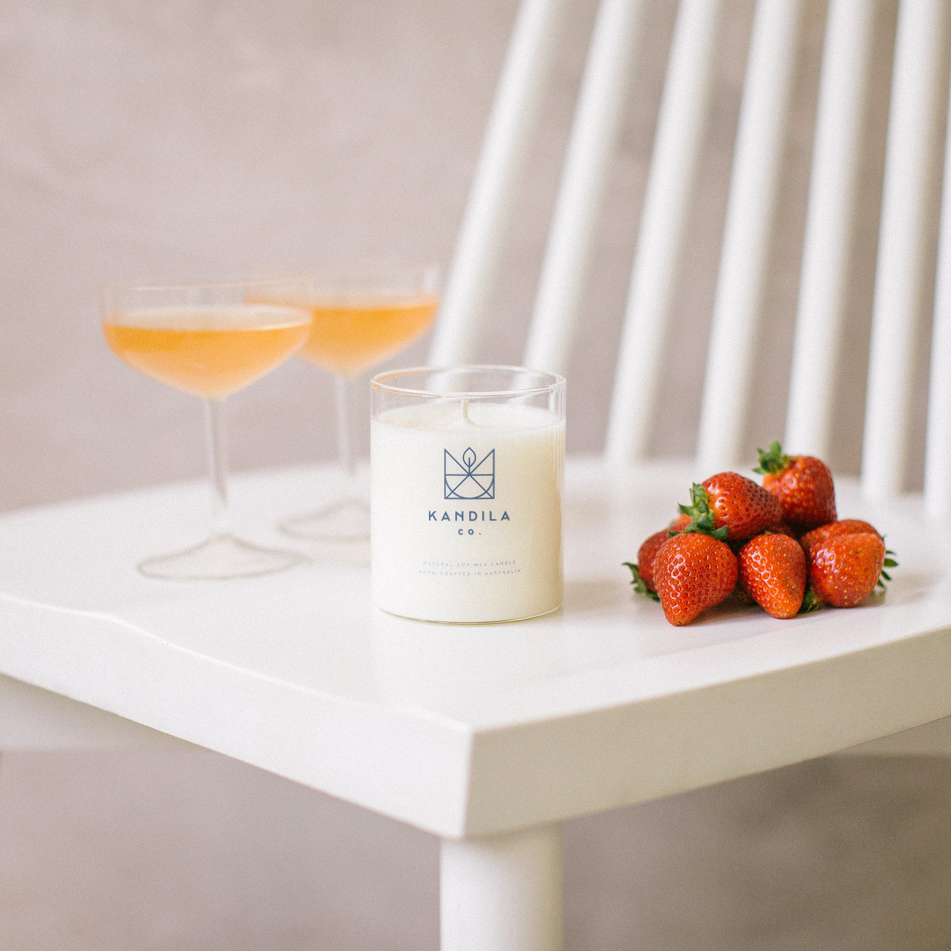 Kandila Company Strawberry and Champagne Natural Vegan Soy Candle Melbourne Australia