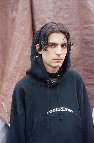 Foo and Foo Ear Hoodie Black Sweatshirt with Piercings