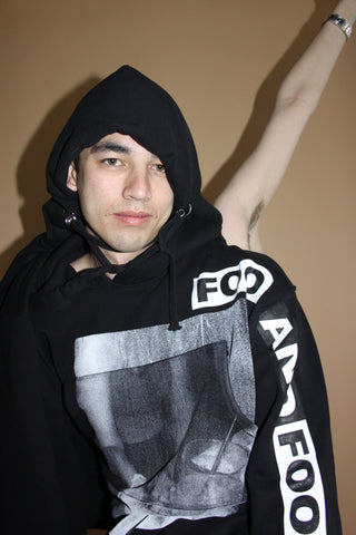 FOO AND FOO - SODA WATER HOODIE - PRINTED BLACK HOODIE - GRACE PICKERING - GEN Z STREETWEAR