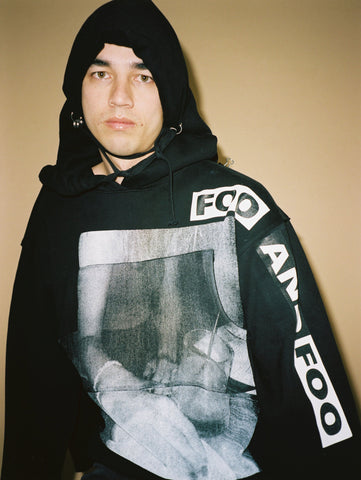 FOO AND FOO - BLACK PRINTED SODA WATER HOODIE - LA STREETWEAR