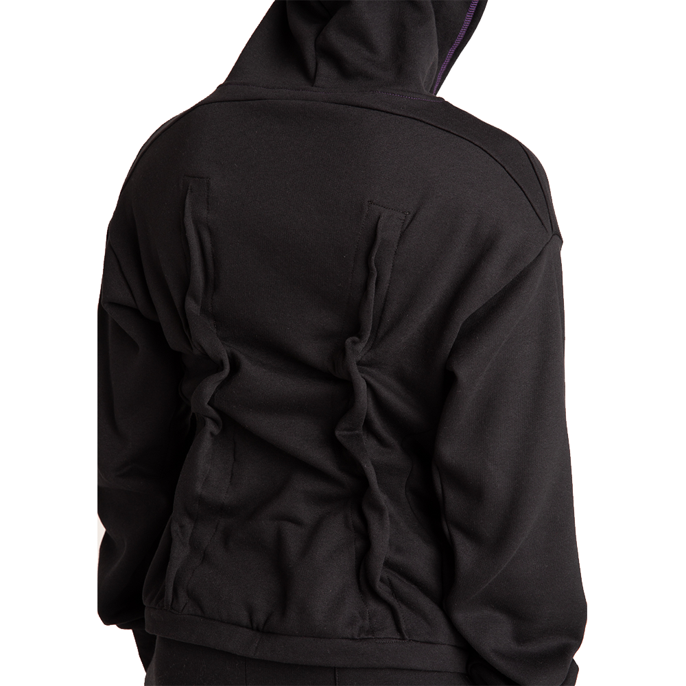 fitted pin zip hoodie