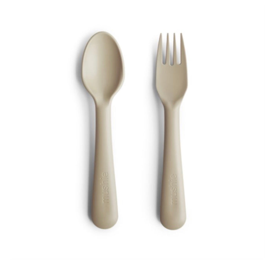 Mushie Fork/Spoon Set - Vanilla