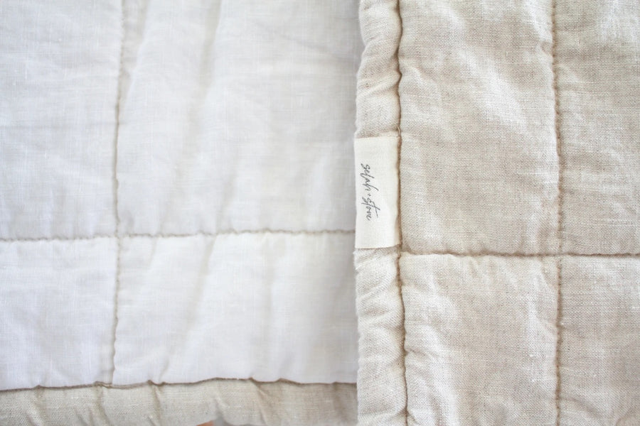Quilted Linen Blanket - Sand